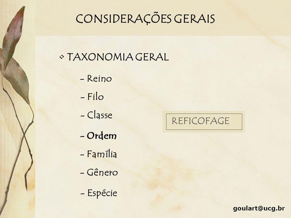 CONSIDERAÇÕES GERAIS TAXONOMIA GERAL - Reino - Filo - Classe - Ordem - Família - Gênero - Espécie REFICOFAGE goulart@ucg.br