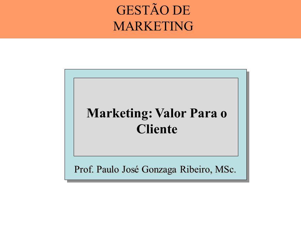 Marketing Orientado Para o Valor Uma filosofia empresarial que se concentra em desenvolver e entregar um valor superior para os clientes como modo de alcançar os objetivos da organização.