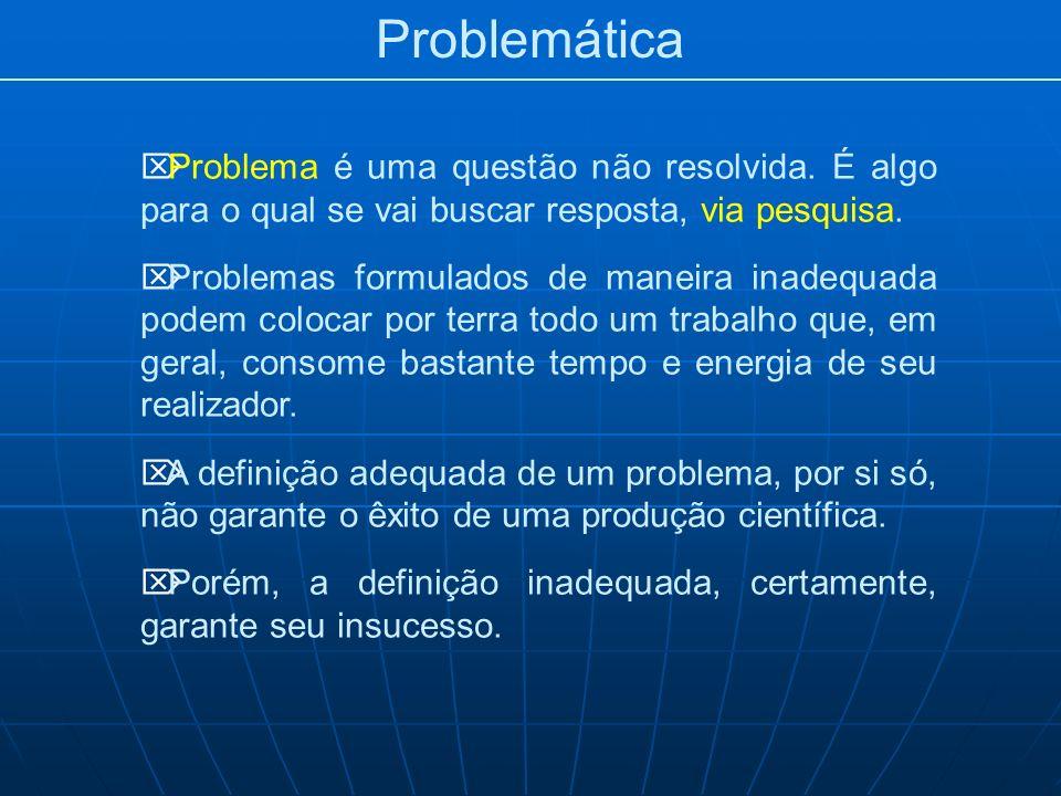 Problemática Problema é uma questão não resolvida. É algo para o qual se vai buscar resposta, via pesquisa. Problemas formulados de maneira inadequada