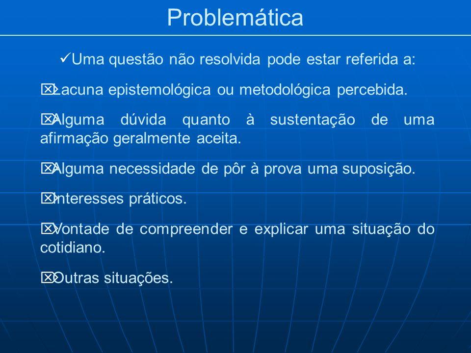 Problemática Uma questão não resolvida pode estar referida a: Lacuna epistemológica ou metodológica percebida. Alguma dúvida quanto à sustentação de u