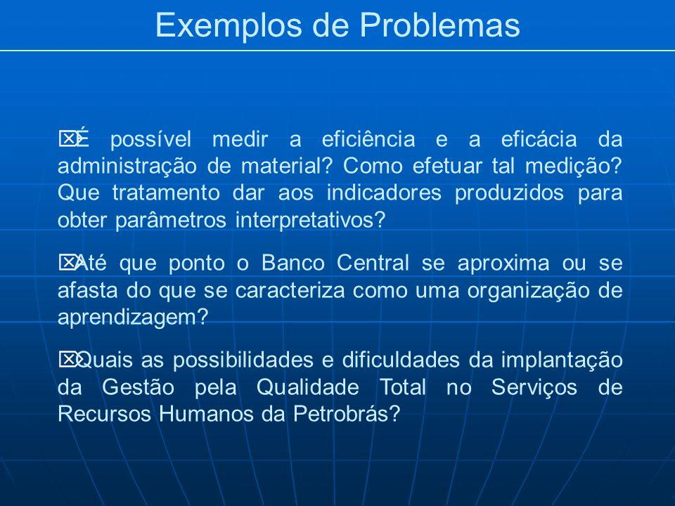 Exemplos de Problemas É possível medir a eficiência e a eficácia da administração de material? Como efetuar tal medição? Que tratamento dar aos indica