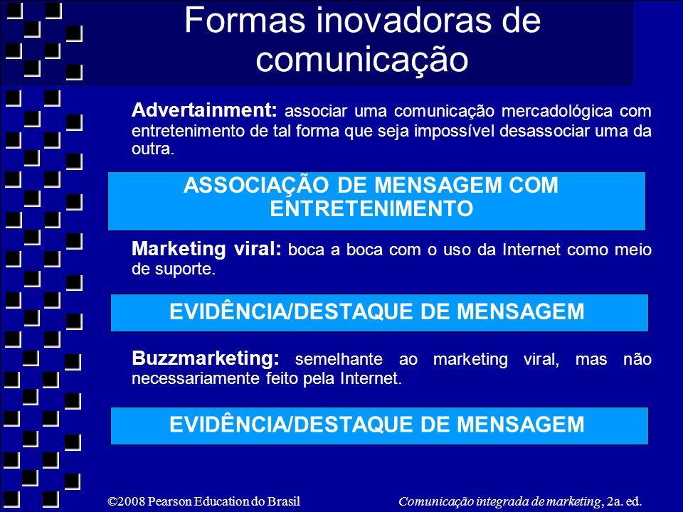 ©2008 Pearson Education do Brasil Comunicação integrada de marketing, 2a. ed. Formas inovadoras de comunicação Advertainment: associar uma comunicação