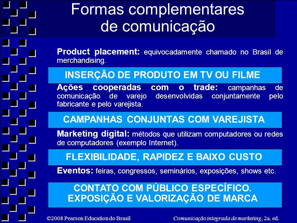 ©2008 Pearson Education do Brasil Comunicação integrada de marketing, 2a. ed. Formas complementares de comunicação Product placement: equivocadamente
