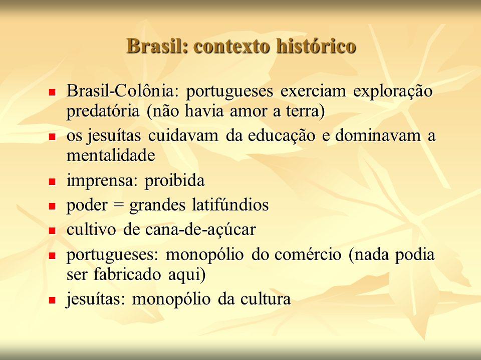 Brasil: contexto histórico Brasil-Colônia: portugueses exerciam exploração predatória (não havia amor a terra) Brasil-Colônia: portugueses exerciam ex