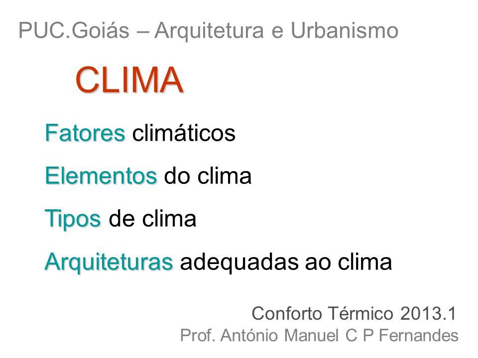 Fatores Fatores climáticos Elementos Elementos do clima Tipos Tipos de clima Arquiteturas Arquiteturas adequadas ao clima PUC.Goiás – Arquitetura e Ur