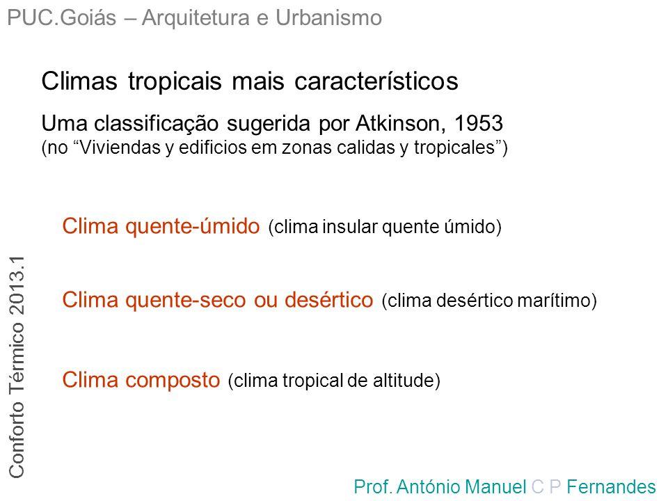PUC.Goiás – Arquitetura e Urbanismo Prof. António Manuel C P Fernandes Climas tropicais mais característicos Uma classificação sugerida por Atkinson,