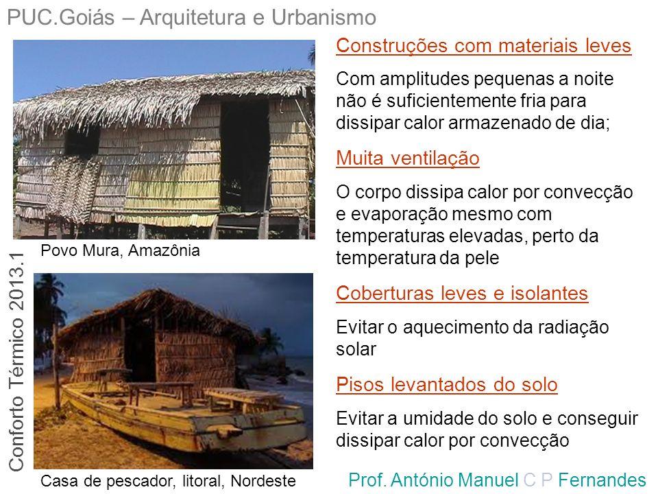 PUC.Goiás – Arquitetura e Urbanismo Prof. António Manuel C P Fernandes Povo Mura, Amazônia Casa de pescador, litoral, Nordeste Construções com materia