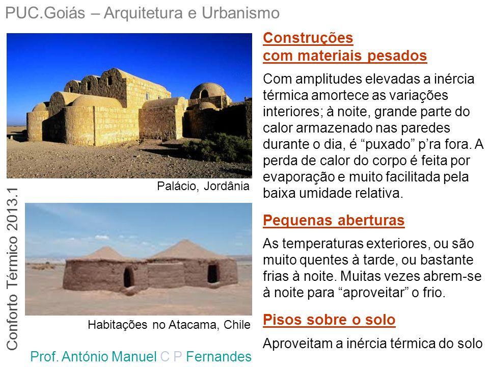 PUC.Goiás – Arquitetura e Urbanismo Prof. António Manuel C P Fernandes Palácio, Jordânia Habitações no Atacama, Chile Construções com materiais pesado