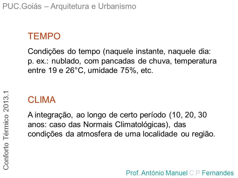 PUC.Goiás – Arquitetura e Urbanismo Prof. António Manuel C P Fernandes CLIMA A integração, ao longo de certo período (10, 20, 30 anos: caso das Normai