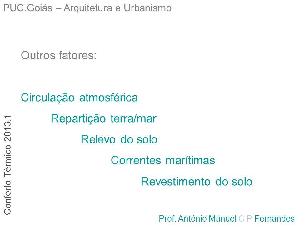 PUC.Goiás – Arquitetura e Urbanismo Prof. António Manuel C P Fernandes Outros fatores: Circulação atmosférica Repartição terra/mar Relevo do solo Corr