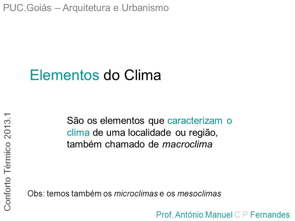 PUC.Goiás – Arquitetura e Urbanismo Prof. António Manuel C P Fernandes Elementos do Clima São os elementos que caracterizam o clima de uma localidade