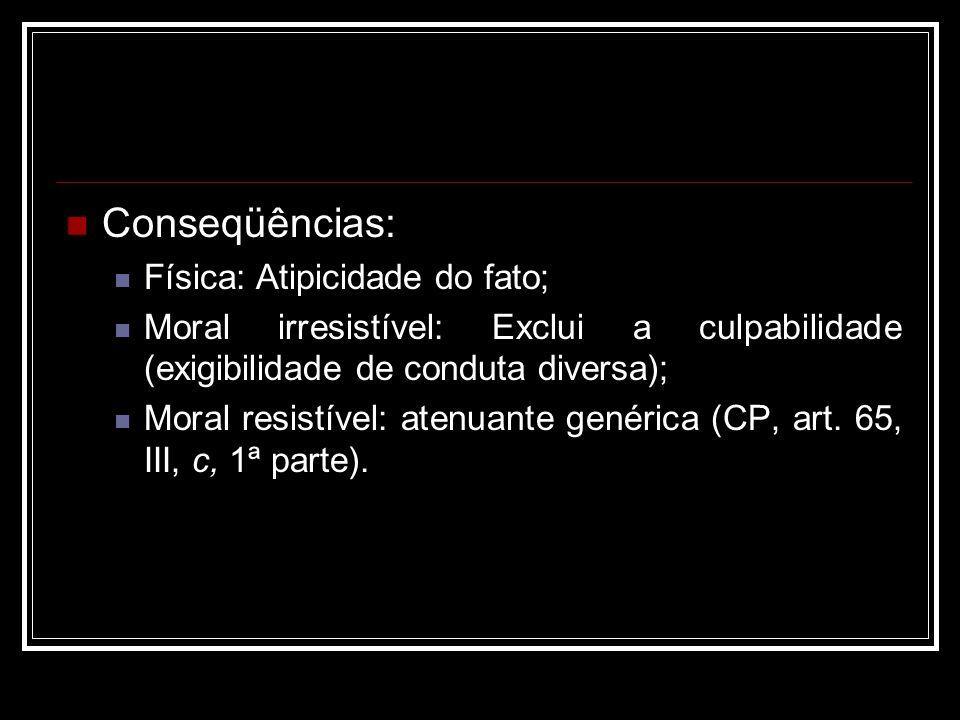 Conseqüências: Física: Atipicidade do fato; Moral irresistível: Exclui a culpabilidade (exigibilidade de conduta diversa); Moral resistível: atenuante
