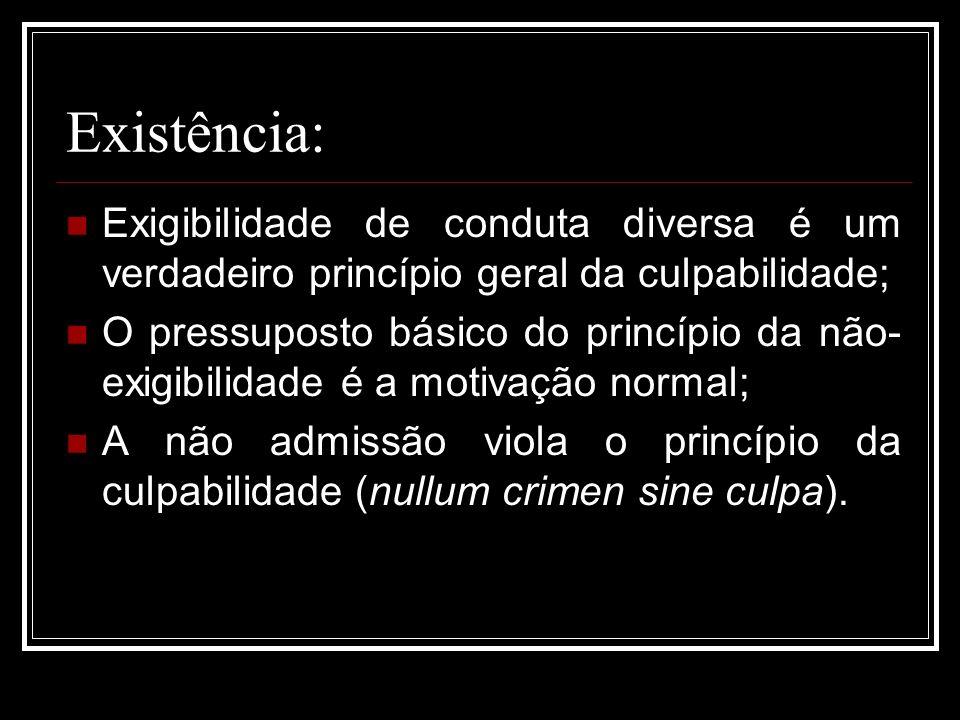 Existência: Exigibilidade de conduta diversa é um verdadeiro princípio geral da culpabilidade; O pressuposto básico do princípio da não- exigibilidade