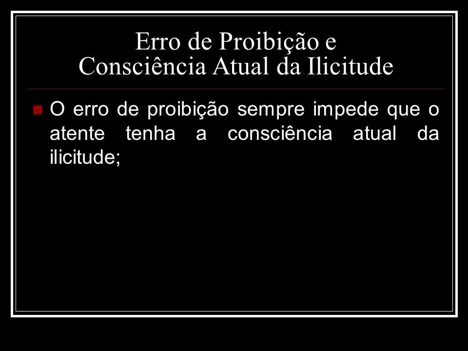 Erro de Proibição e Consciência Atual da Ilicitude O erro de proibição sempre impede que o atente tenha a consciência atual da ilicitude;