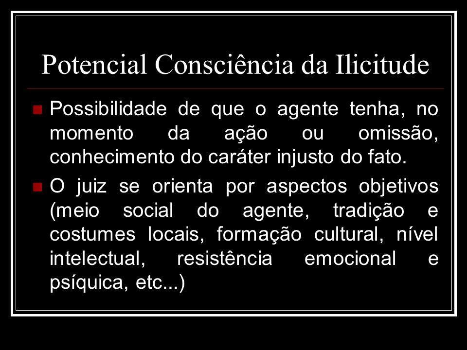Potencial Consciência da Ilicitude Possibilidade de que o agente tenha, no momento da ação ou omissão, conhecimento do caráter injusto do fato. O juiz
