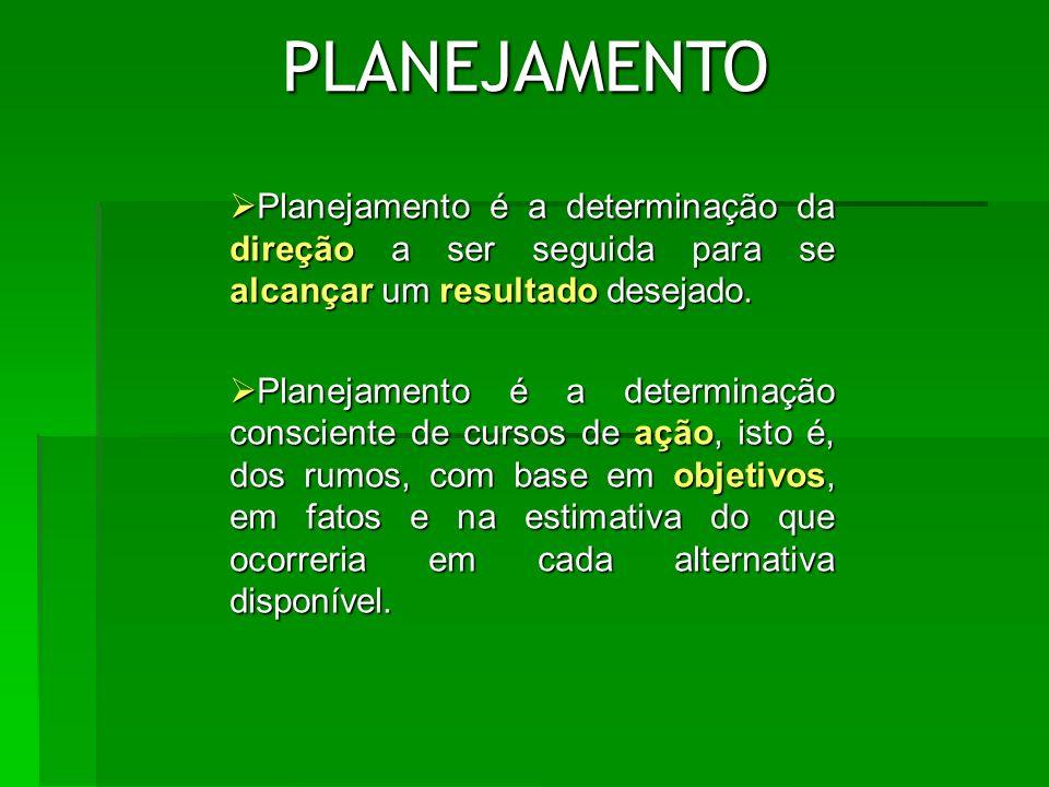 ETAPAS DO PLANEJAMENTO Um planejamento eficaz compreende seis etapas: Um planejamento eficaz compreende seis etapas: Definição dos objetivos Definição dos objetivos Análise ambiental (diagnóstico) Análise ambiental (diagnóstico) Cenários (prognóstico) Cenários (prognóstico) Definição dos meios de se atingir os objetivos (estratégia) Definição dos meios de se atingir os objetivos (estratégia) Implementação do plano Implementação do plano Acompanhamento dos resultados Acompanhamento dos resultados