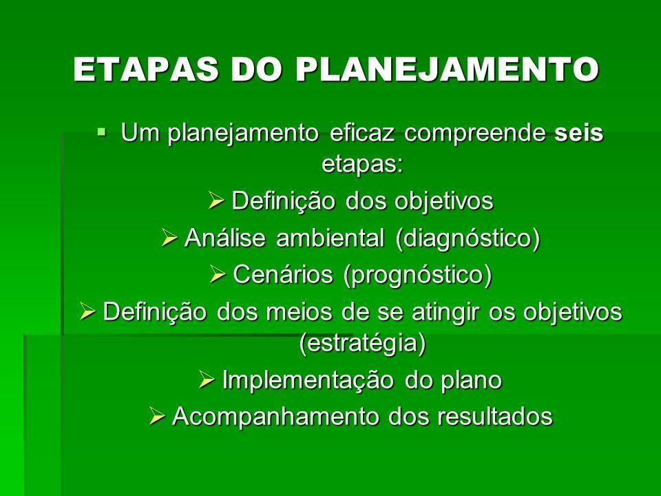 ETAPAS DO PLANEJAMENTO Um planejamento eficaz compreende seis etapas: Um planejamento eficaz compreende seis etapas: Definição dos objetivos Definição