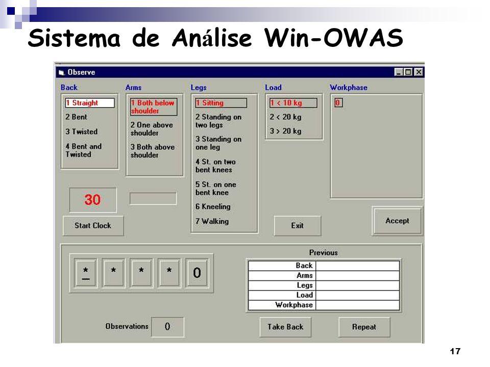 17 Sistema de An á lise Win-OWAS