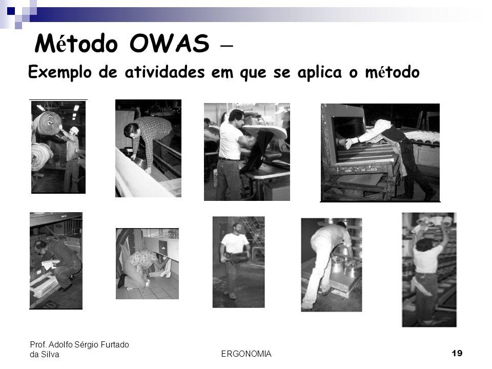 ERGONOMIA 19 Prof. Adolfo Sérgio Furtado da Silva M é todo OWAS – Exemplo de atividades em que se aplica o m é todo