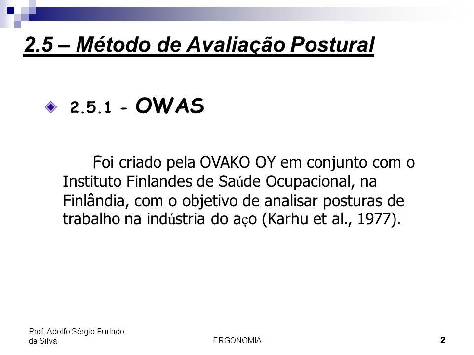 2 Prof. Adolfo Sérgio Furtado da Silva 2.5.1 - OWAS F oi criado pela OVAKO OY em conjunto com o Instituto Finlandes de Sa ú de Ocupacional, na Finlând