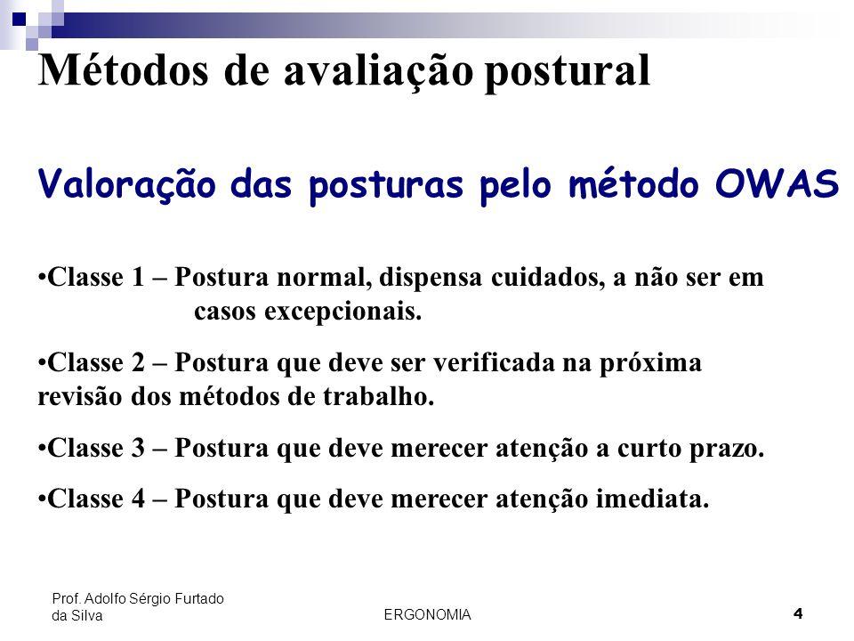 ERGONOMIA 4 Prof. Adolfo Sérgio Furtado da Silva Métodos de avaliação postural Valoração das posturas pelo método OWAS Classe 1 – Postura normal, disp