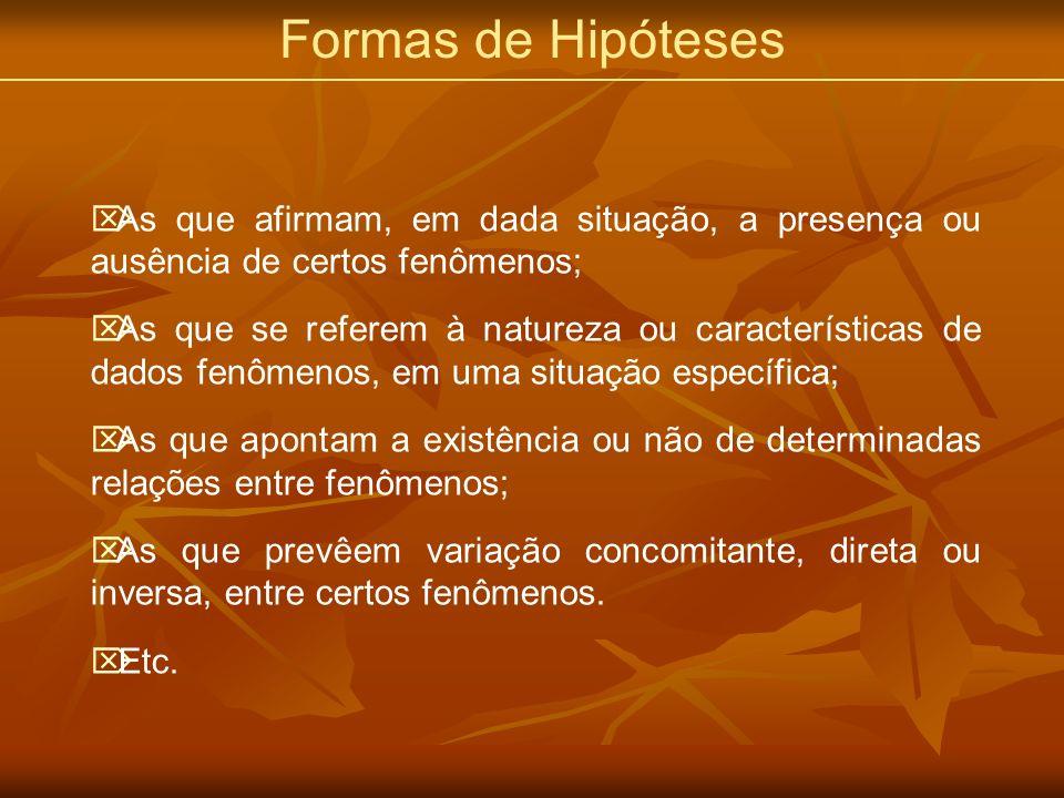 Formas de Hipóteses As que afirmam, em dada situação, a presença ou ausência de certos fenômenos; As que se referem à natureza ou características de d