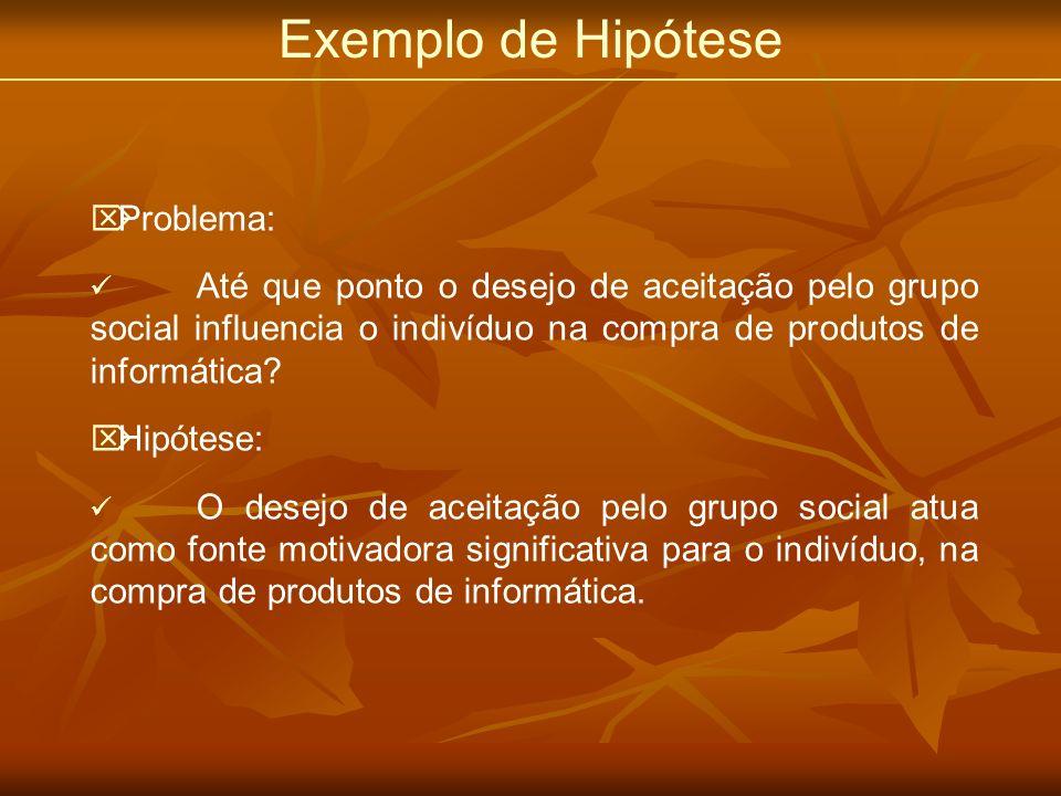 Exemplo de Hipótese Problema: Até que ponto o desejo de aceitação pelo grupo social influencia o indivíduo na compra de produtos de informática? Hipót
