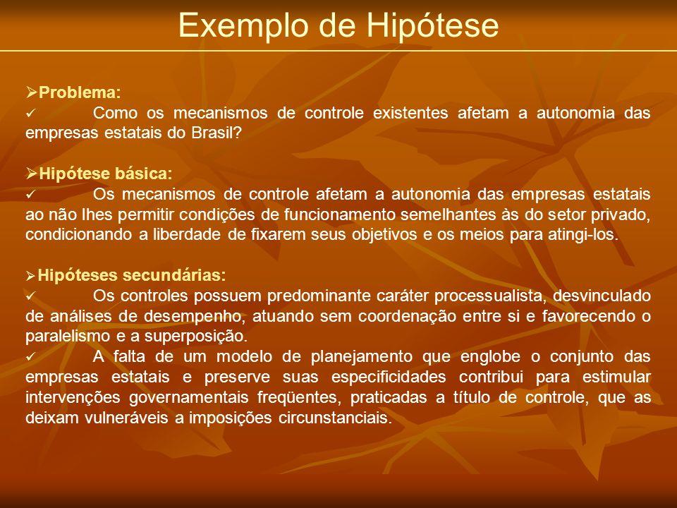 Exemplo de Hipótese Problema: Como os mecanismos de controle existentes afetam a autonomia das empresas estatais do Brasil? Hipótese básica: Os mecani