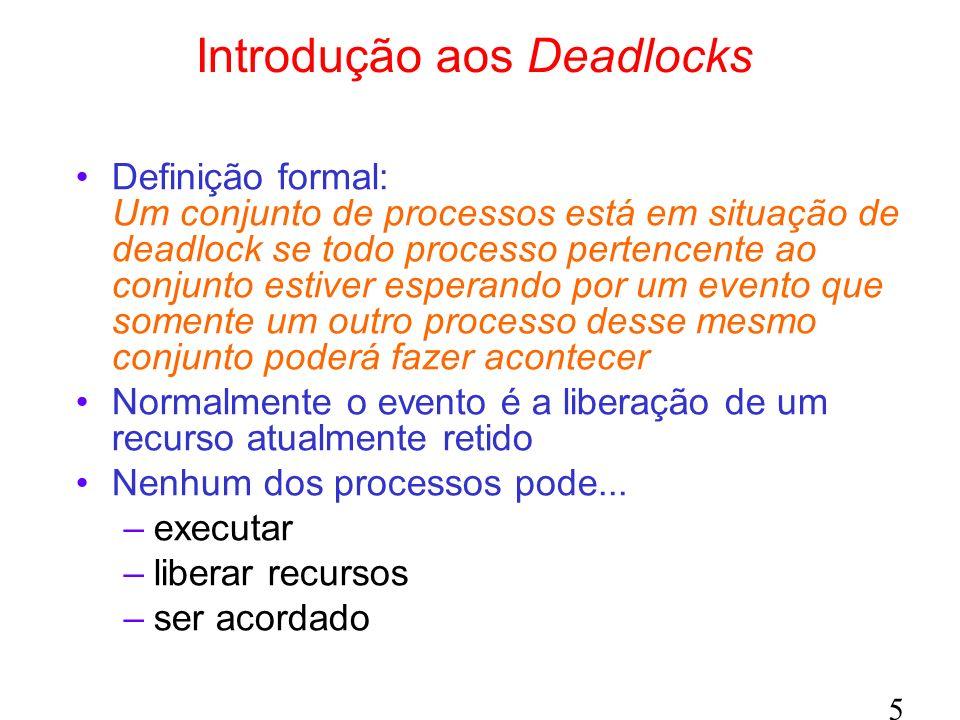 5 Introdução aos Deadlocks Definição formal: Um conjunto de processos está em situação de deadlock se todo processo pertencente ao conjunto estiver esperando por um evento que somente um outro processo desse mesmo conjunto poderá fazer acontecer Normalmente o evento é a liberação de um recurso atualmente retido Nenhum dos processos pode...
