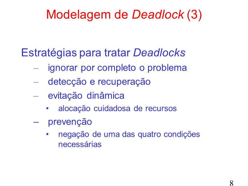 8 Modelagem de Deadlock (3) Estratégias para tratar Deadlocks – ignorar por completo o problema – detecção e recuperação – evitação dinâmica alocação cuidadosa de recursos –prevenção negação de uma das quatro condições necessárias