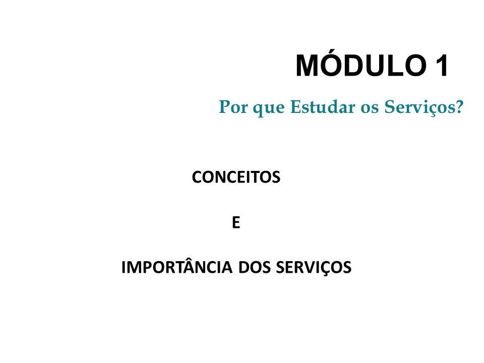 MÓDULO 1 Por que Estudar os Serviços? CONCEITOS E IMPORTÂNCIA DOS SERVIÇOS