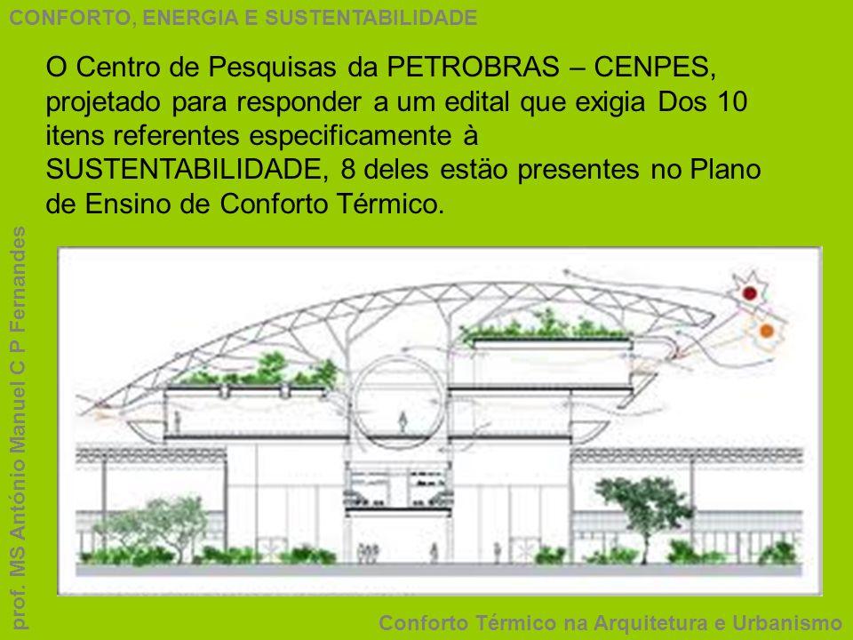 CONFORTO, ENERGIA E SUSTENTABILIDADE Conforto Térmico na Arquitetura e Urbanismo prof. MS António Manuel C P Fernandes O Centro de Pesquisas da PETROB