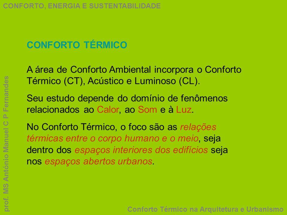 CONFORTO, ENERGIA E SUSTENTABILIDADE Conforto Térmico na Arquitetura e Urbanismo prof. MS António Manuel C P Fernandes CONFORTO TÉRMICO A área de Conf