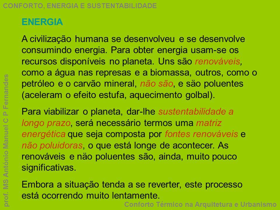 CONFORTO, ENERGIA E SUSTENTABILIDADE Conforto Térmico na Arquitetura e Urbanismo prof. MS António Manuel C P Fernandes ENERGIA A civilização humana se