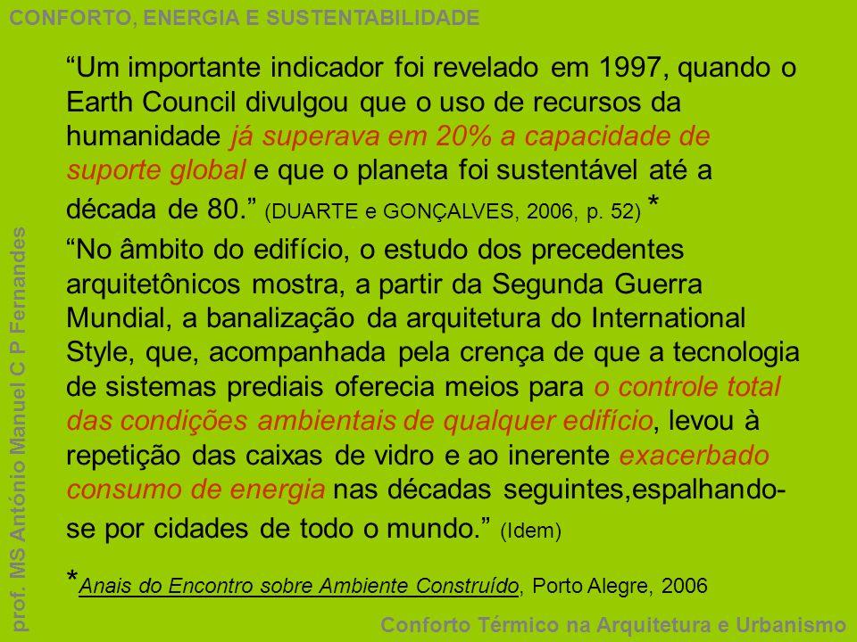CONFORTO, ENERGIA E SUSTENTABILIDADE Conforto Térmico na Arquitetura e Urbanismo prof. MS António Manuel C P Fernandes Um importante indicador foi rev