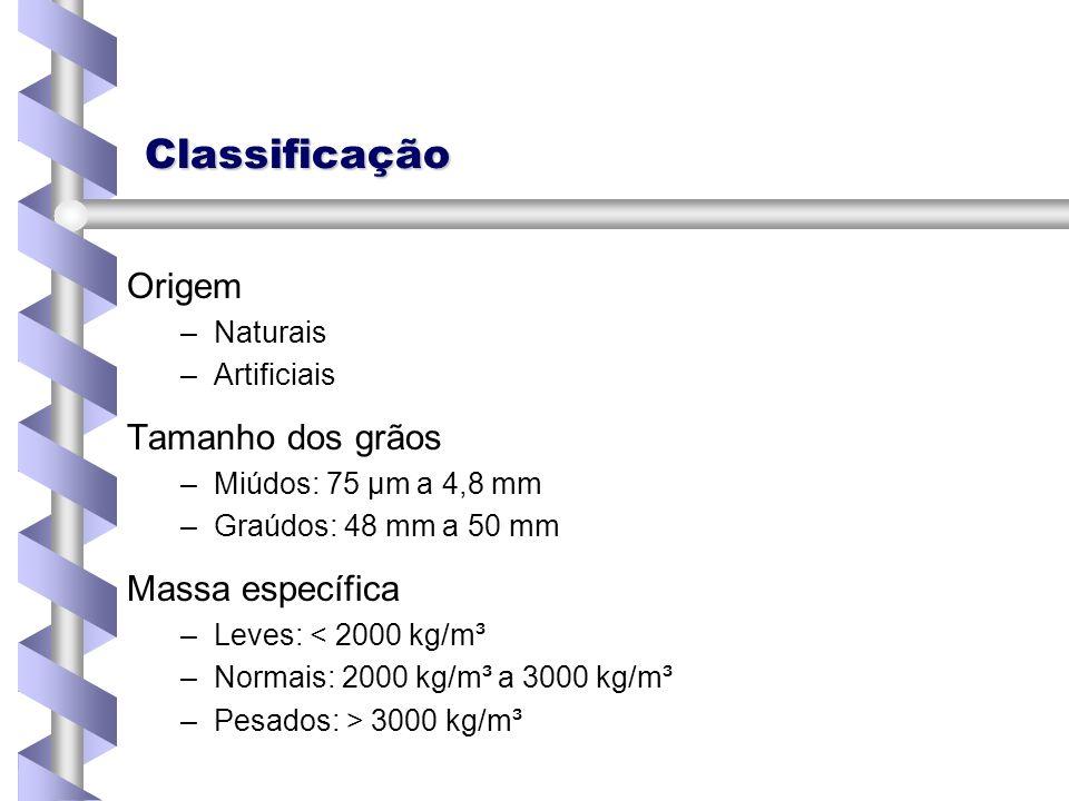 Classificação Tamanho dos grãos – –Miúdos: 75 μm a 4,8 mm – –Graúdos: 48 mm a 50 mm Massa específica –Leves: < 2000 kg/m³ –Normais: 2000 kg/m³ a 3000
