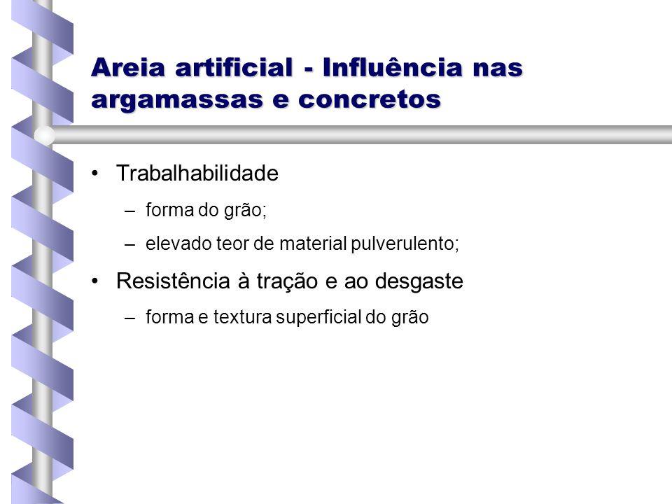 Areia artificial - Influência nas argamassas e concretos Trabalhabilidade – –forma do grão; – –elevado teor de material pulverulento; Resistência à tr