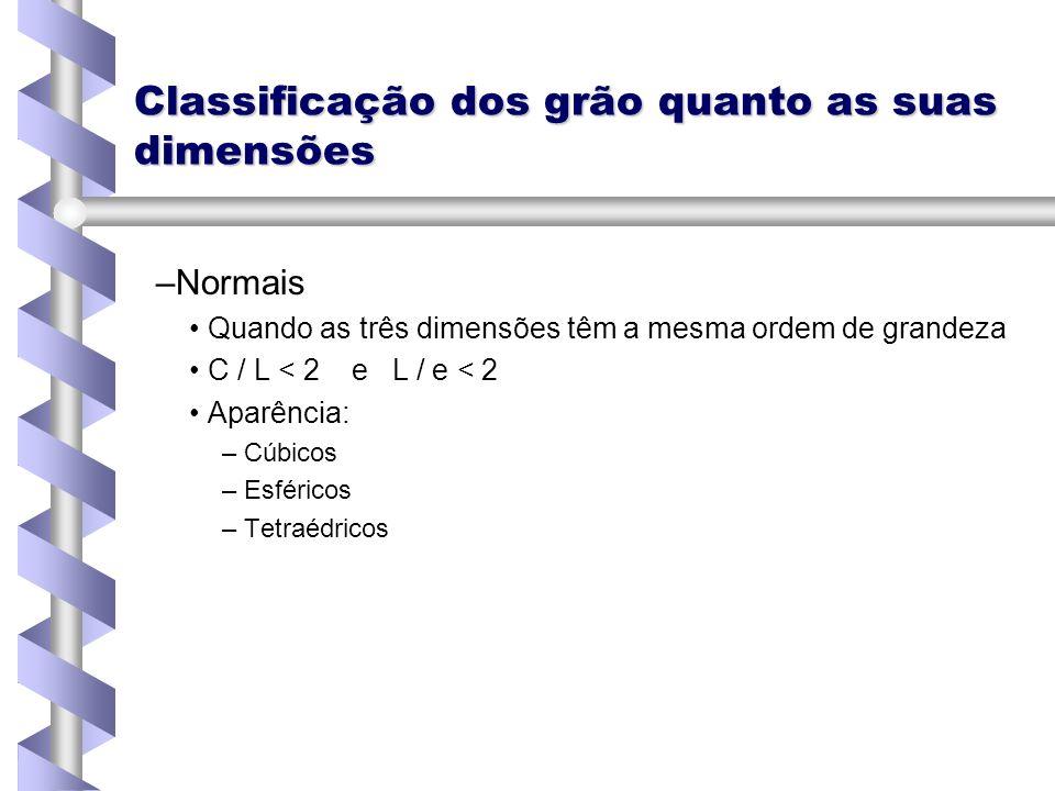 Classificação dos grão quanto as suas dimensões – –Normais Quando as três dimensões têm a mesma ordem de grandeza C / L < 2 e L / e < 2 Aparência: – –
