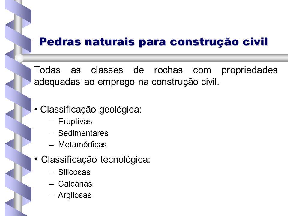 Pedras naturais para construção civil Todas as classes de rochas com propriedades adequadas ao emprego na construção civil. Classificação geológica: –