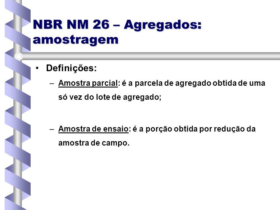 NBR NM 26 – Agregados: amostragem Definições: – –Amostra parcial: é a parcela de agregado obtida de uma só vez do lote de agregado; – –Amostra de ensa
