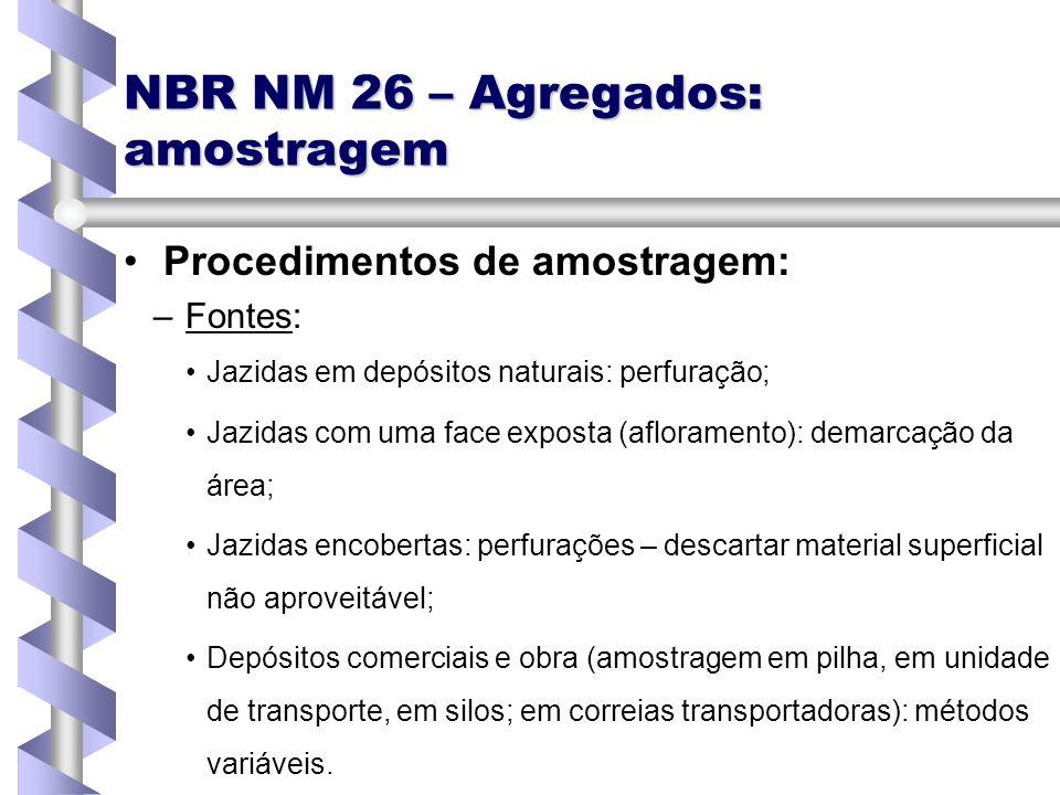 NBR NM 26 – Agregados: amostragem Procedimentos de amostragem: – –Fontes: Jazidas em depósitos naturais: perfuração; Jazidas com uma face exposta (afl