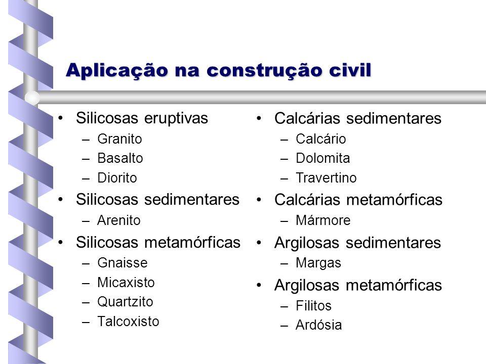 Aplicação na construção civil Silicosas eruptivas – –Granito – –Basalto – –Diorito Silicosas sedimentares – –Arenito Silicosas metamórficas – –Gnaisse