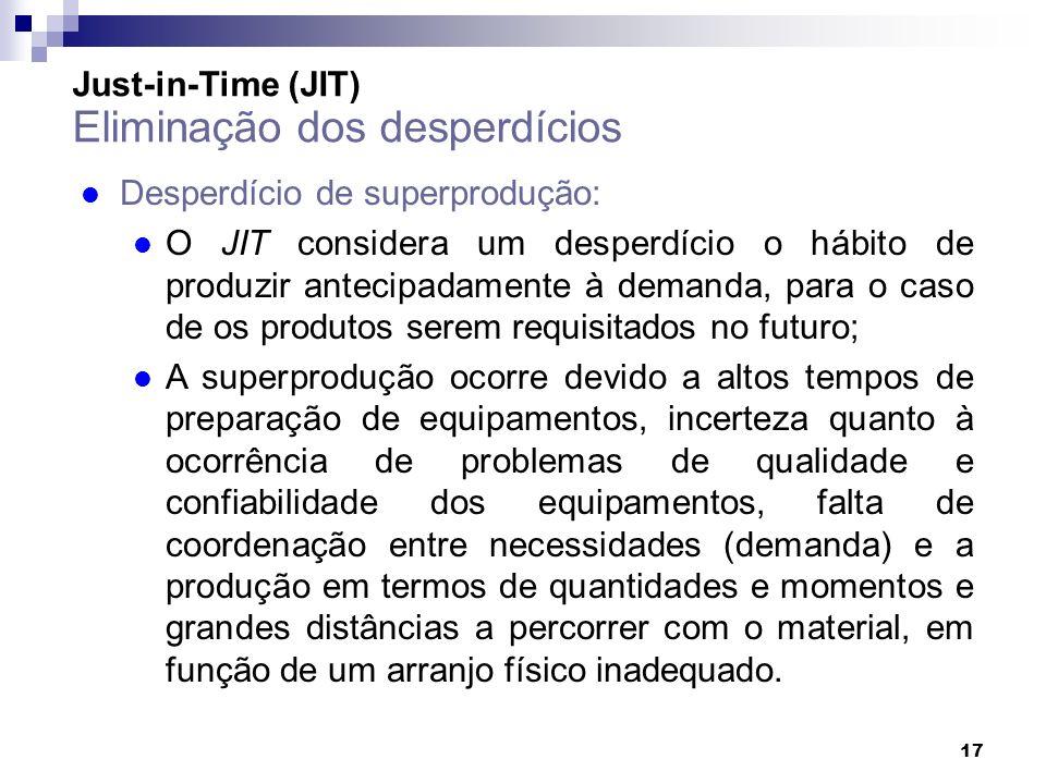 17 Just-in-Time (JIT) Eliminação dos desperdícios l Desperdício de superprodução: l O JIT considera um desperdício o hábito de produzir antecipadament