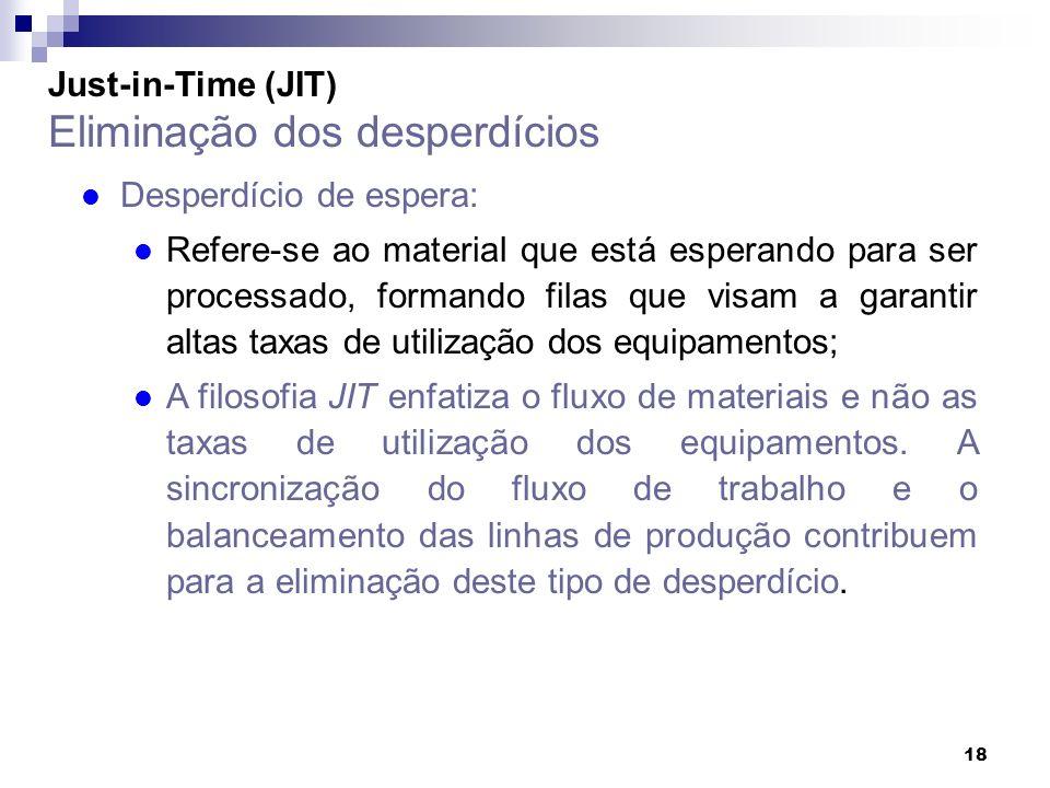 18 Just-in-Time (JIT) Eliminação dos desperdícios l Desperdício de espera: l Refere-se ao material que está esperando para ser processado, formando fi