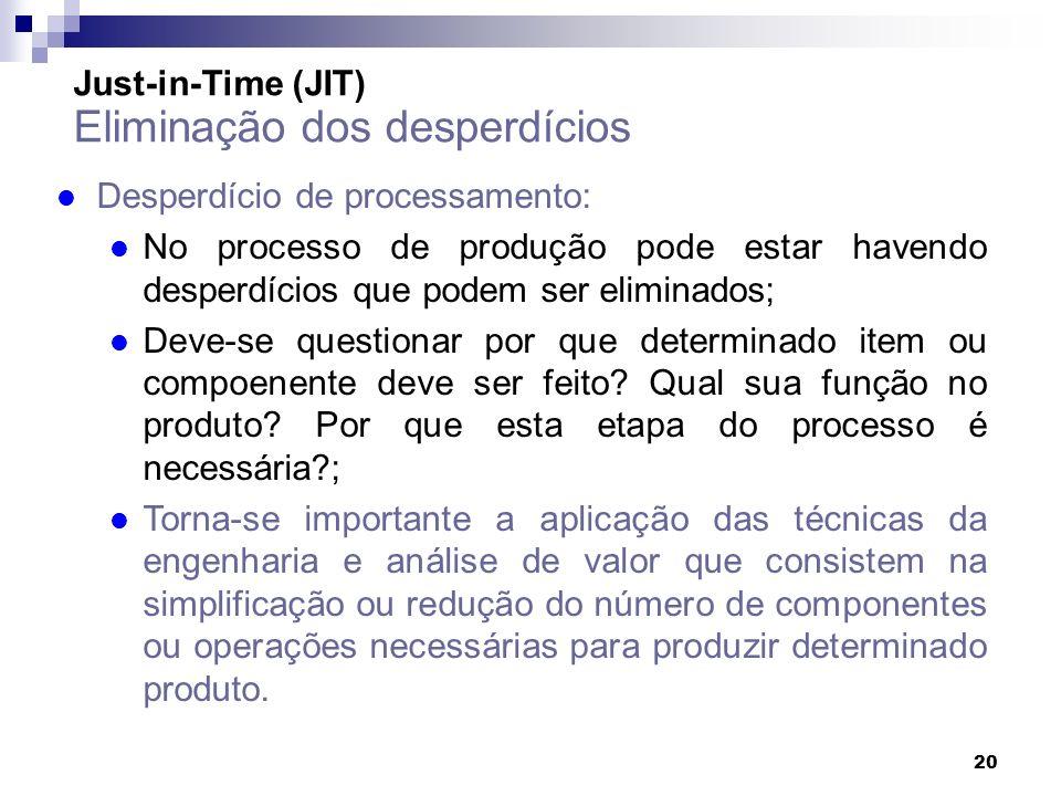 20 Just-in-Time (JIT) Eliminação dos desperdícios l Desperdício de processamento: l No processo de produção pode estar havendo desperdícios que podem