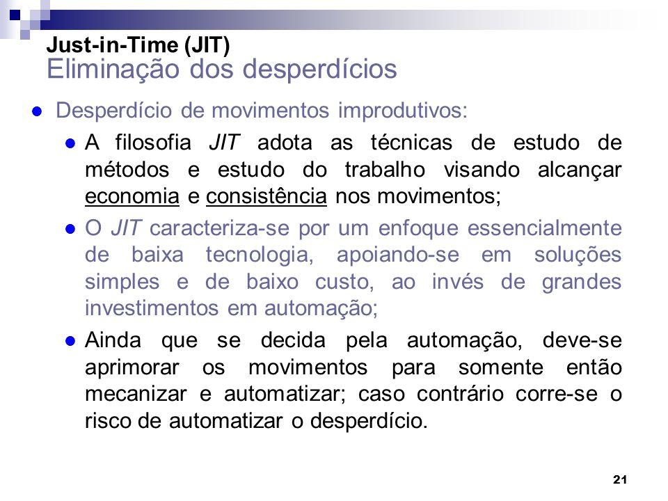 21 l Desperdício de movimentos improdutivos: l A filosofia JIT adota as técnicas de estudo de métodos e estudo do trabalho visando alcançar economia e