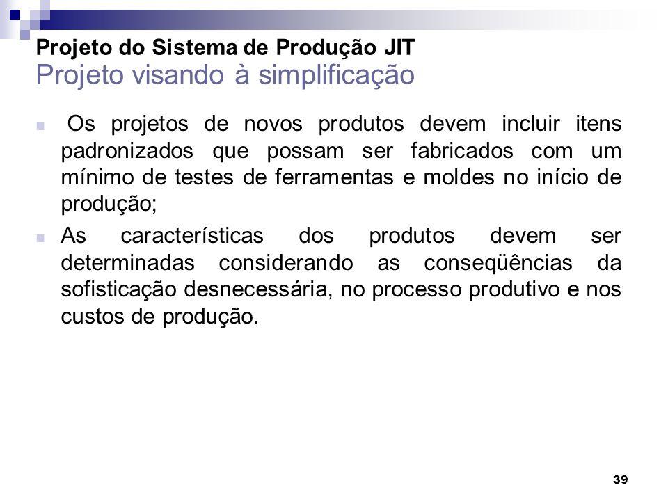 39 Os projetos de novos produtos devem incluir itens padronizados que possam ser fabricados com um mínimo de testes de ferramentas e moldes no início