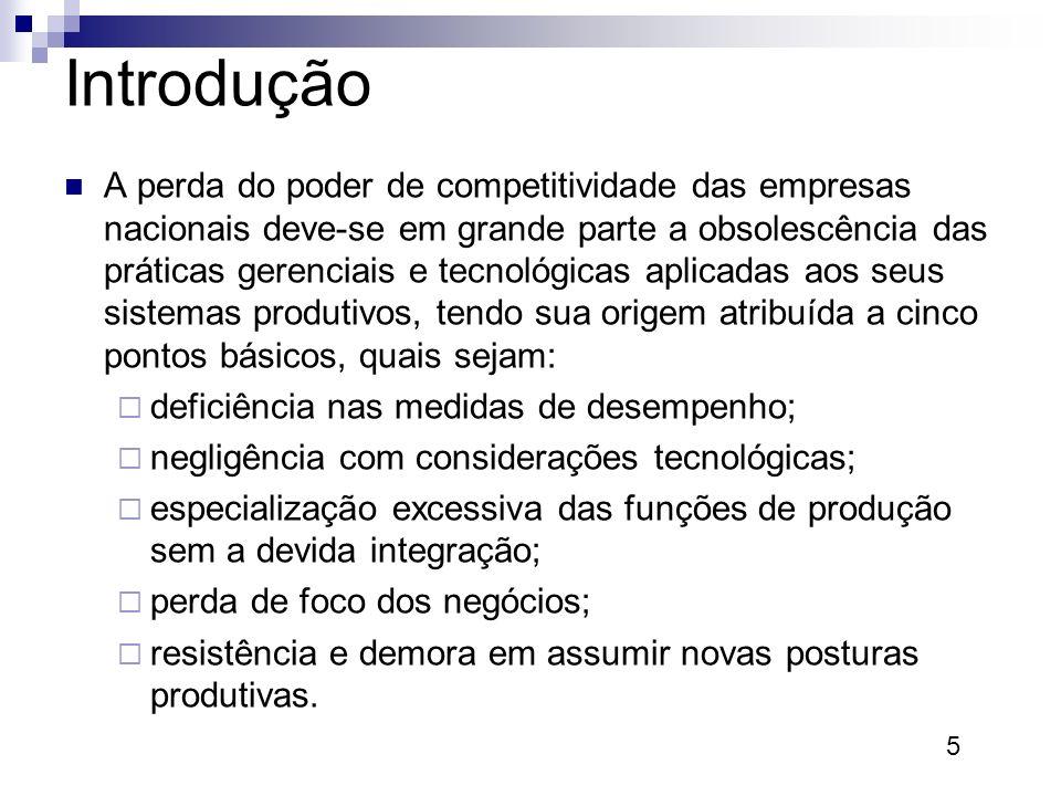 5 Introdução A perda do poder de competitividade das empresas nacionais deve-se em grande parte a obsolescência das práticas gerenciais e tecnológicas
