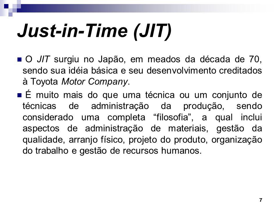 7 Just-in-Time (JIT) O JIT surgiu no Japão, em meados da década de 70, sendo sua idéia básica e seu desenvolvimento creditados à Toyota Motor Company.
