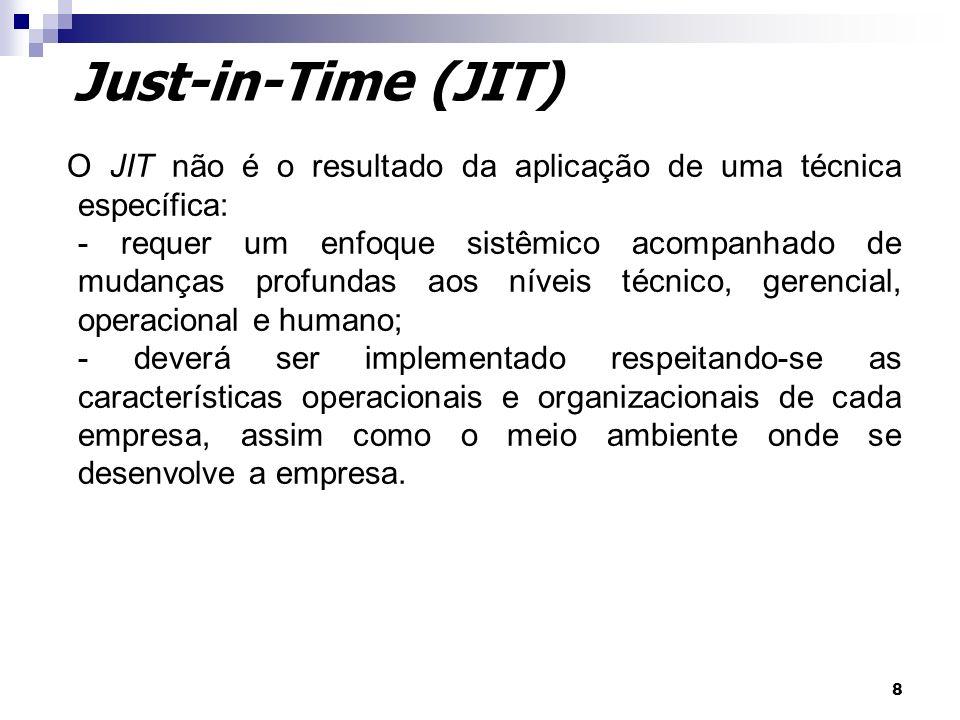 8 Just-in-Time (JIT) O JIT não é o resultado da aplicação de uma técnica específica: - requer um enfoque sistêmico acompanhado de mudanças profundas a